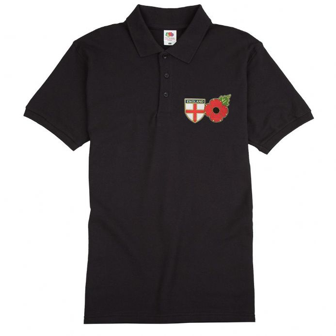 Remembrance Sunday Poppy England Polo Shirt with St George Cross Shield logo